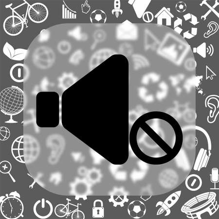noiseless: no sound vector icon - matte glass button on background consisting of different icons