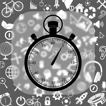 stopwatch vector icon - matte glass button on background consisting of different icons