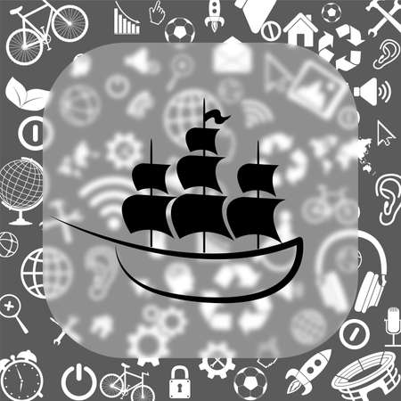 ship vector icon - matte glass button on background consisting of different icons