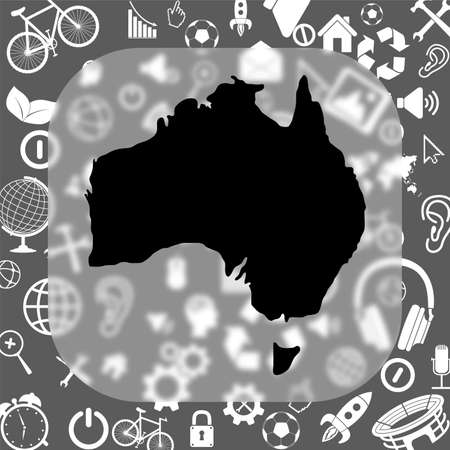 Australia map vector icon - matte glass button on background consisting of different icons