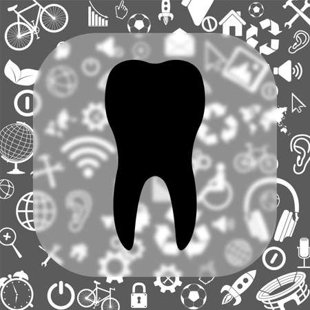 toothcare: tooth vector icon - matte glass button on background consisting of different icons