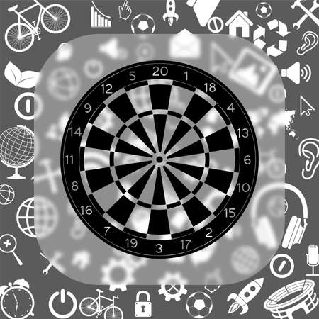 classic dartboard vector icon - matte glass button on background consisting of different icons