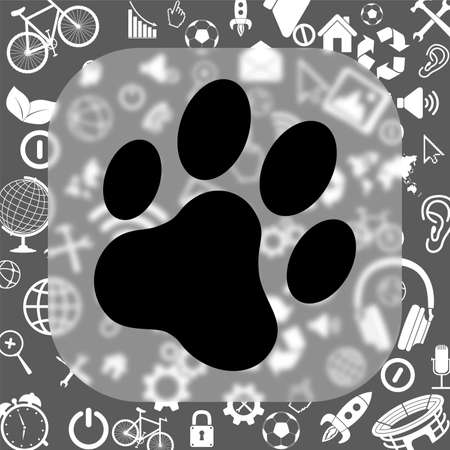cat paw print vector icon - matte glass button on background consisting of different icons