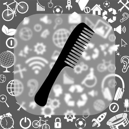 comb vector icon - matte glass button on background consisting of different icons Illustration