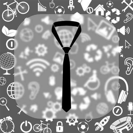 formal party: necktie vector icon - matte glass button on background consisting of different icons Illustration