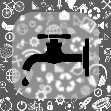 tap vector icon - matte glass button on background consisting of different icons