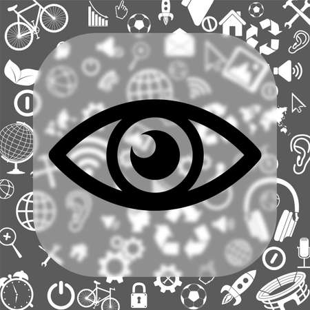 eye vector icon - matte glass button on background consisting of different icons
