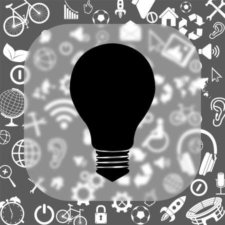 electric bulb vector icon - matte glass button on background consisting of different icons Illustration