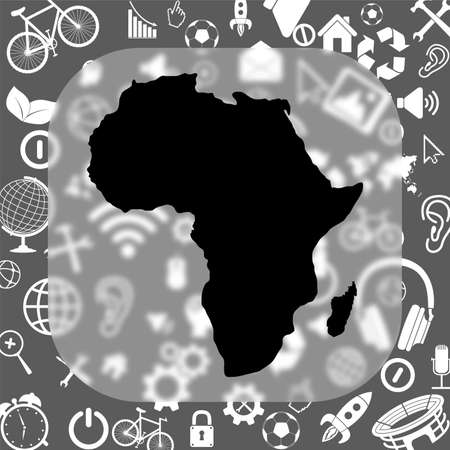 ethiopia abstract: Africa map vector icon - matte glass button on background consisting of different icons Illustration