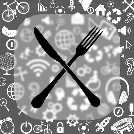 crossed fork and spoon vector icon - matte glass button on background consisting of different icons