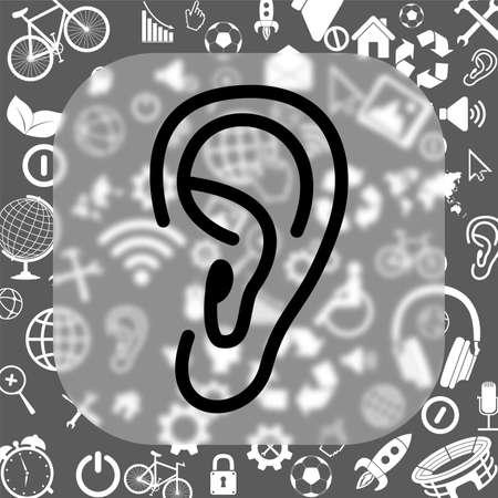 oído del icono del vector - Botón de cristal mate de fondo que consiste en diferentes iconos