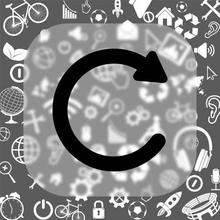 recover: undo vector icon - matte glass button on background consisting of different icons Illustration