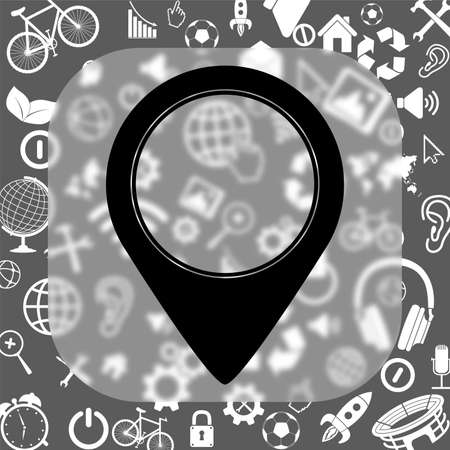 map pointer vector icon - matte glass button on background consisting of different icons