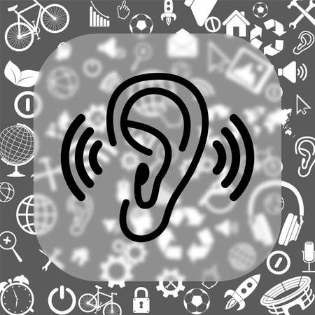 audition: ear vector icon - matte glass button on background consisting of different icons