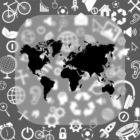 world map vector icon - matte glass button on background consisting of different icons