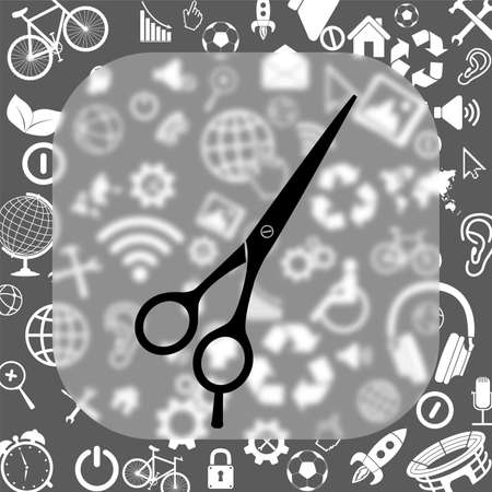 barbers shears scissors vector icon - matte glass button on background consisting of different icons Illustration