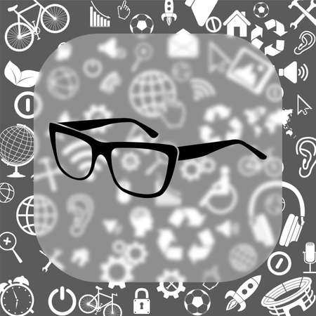 glasses vector icon - matte glass button on background consisting of different icons