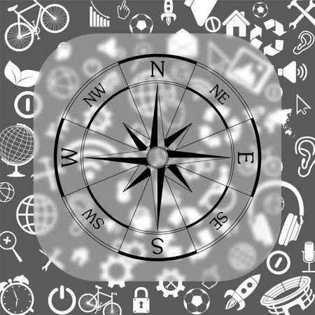 wind rose compass vector icon - matte glass button on background consisting of different icons