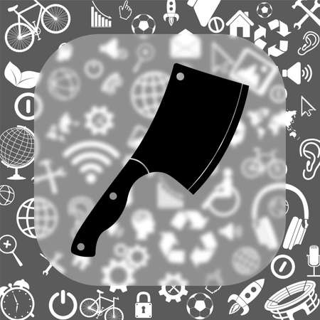 meat chopper: meat chopper vector icon - matte glass button on background consisting of different icons