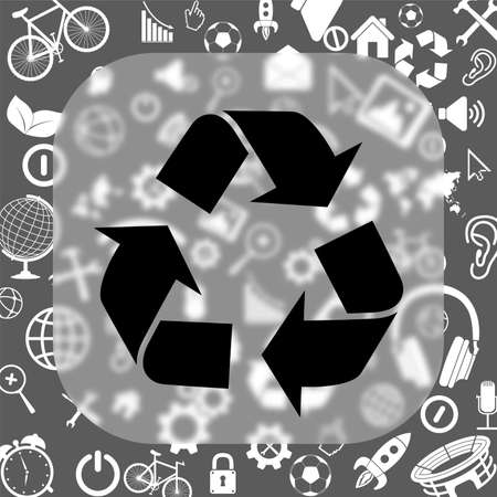 reflection of life: recyclle vector icon - matte glass button on background consisting of different icons