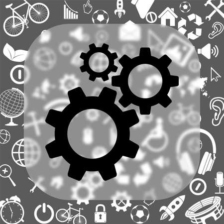 cogwheel gear mechanism vector icon - matte glass button on background consisting of different icons