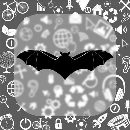 bat vector icon - matte glass button on background consisting of different icons