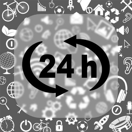 24 h vector icon - matte glass button on background consisting of different icons