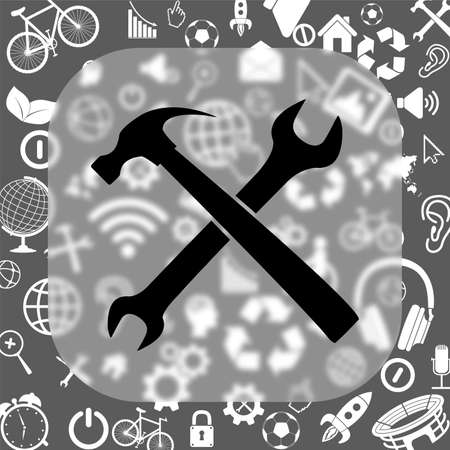 wrench and hammer vector icon - matte glass button on background consisting of different icons Illustration
