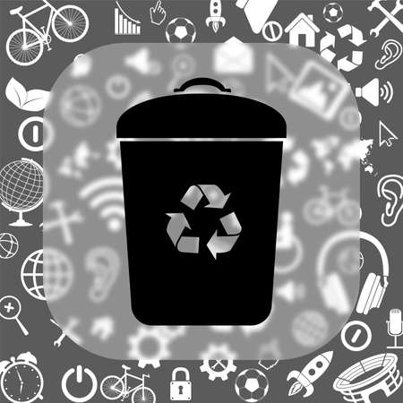 tidy: trash bin vector icon - matte glass button on background consisting of different icons
