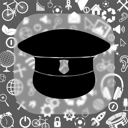 gorra polic�a: police cap vector icon - matte glass button on background consisting of different icons