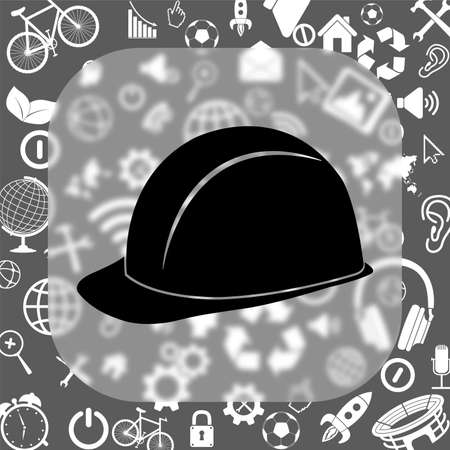 safety hard hat vector icon - matte glass button on background consisting of different icons