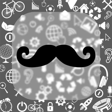 mustaches vector icon - matte glass button on background consisting of different icons