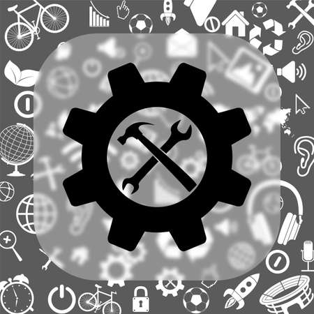 rebuild: wrench and hammer - settings vector icon - matte glass button on background consisting of different icons