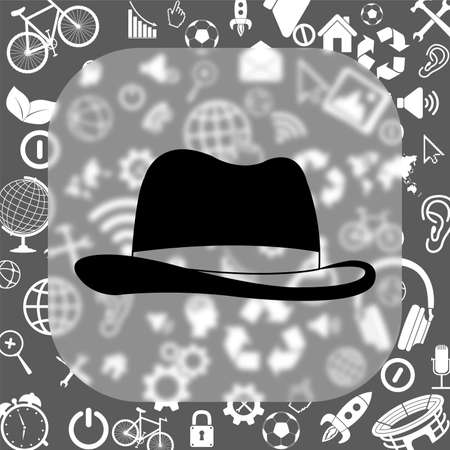 pent: mans hat vector icon - matte glass button on background consisting of different icons Illustration