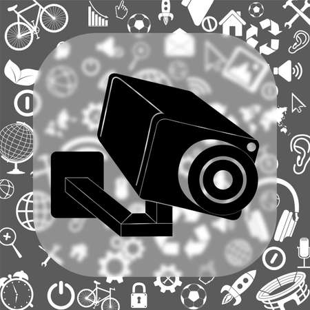 video surveillance camera vector icon - matte glass button on background consisting of different icons