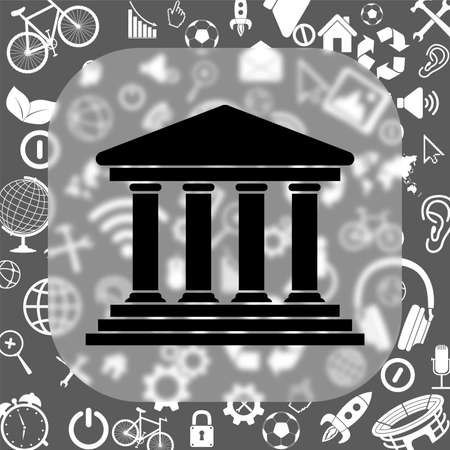 governmental: court building vector icon - matte glass button on background consisting of different icons