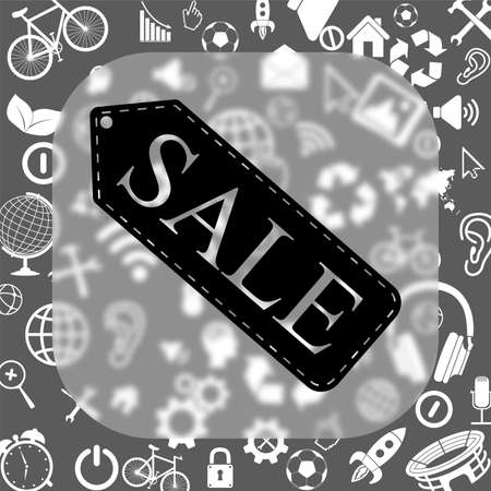 sale tag vector icon - matte glass button on background consisting of different icons Illustration