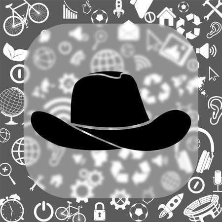 cowboy hat vector icon - matte glass button on background consisting of different icons
