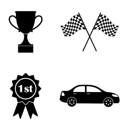 Car competition icons  vector set
