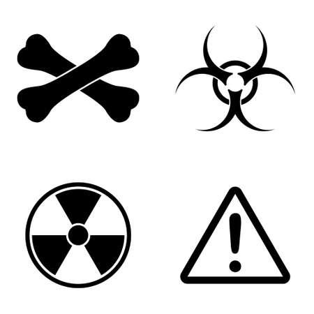 Danger and biohazard icons  vector set