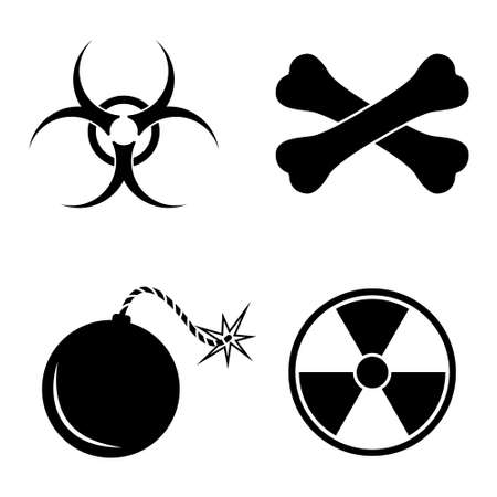 chemical hazard: Danger and biohazard icons   vector set