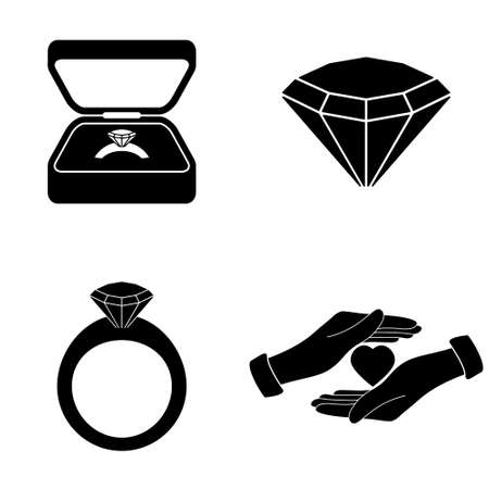 Marriage proposal icons  vector set