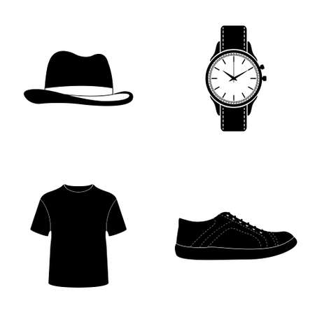 clothes pegs: Mans clothes and accessories icons  vector set