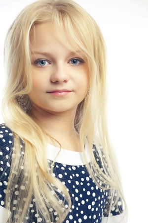 beautiful little girl with long hair svetlyi on a white background Stock Photo