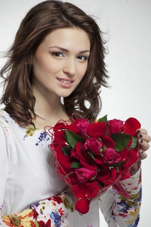 beautiful girl with a gift on Valentine Day  photo