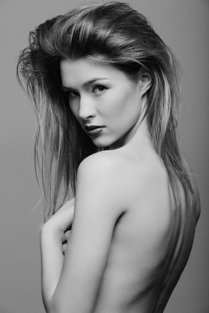 nude female: beautiful girl with perfect skin, fashion makeup and hairstyle