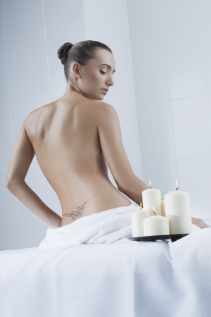 beautiful woman in beautiful woman in a medical beauty center on massage therapy photo