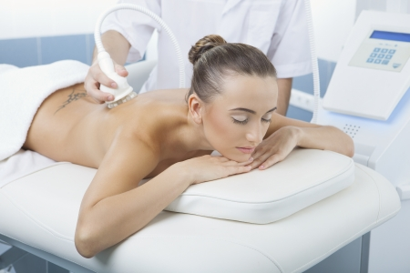 DERMATOLOGY: vacuum massage procedure in the medical beauty center Stock Photo
