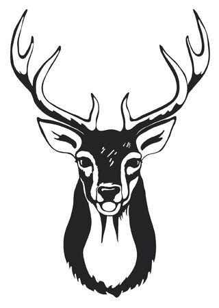 Black silhouette of deer head with antler.