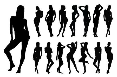 Silhouette nere di bella donna in diverse posizioni in piedi.